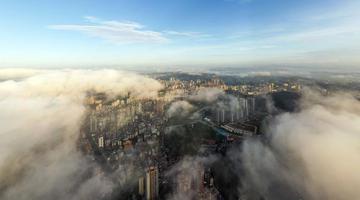 广西梧州云雾缭绕 城市建筑若隐若现