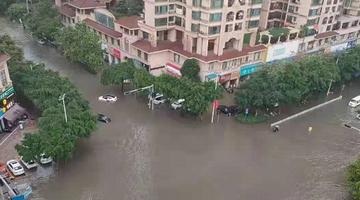 """暴雨后南宁被""""泡""""了 有汽车当船开"""
