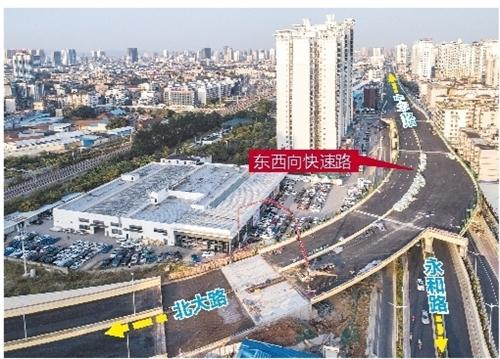 西起清川大道,东至厢竹大道,连接火车东站,道路全长约13.