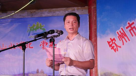 浦北县委常委、宣传部部长、副县长梁光宁在活动现场发表致辞 冼连富/摄