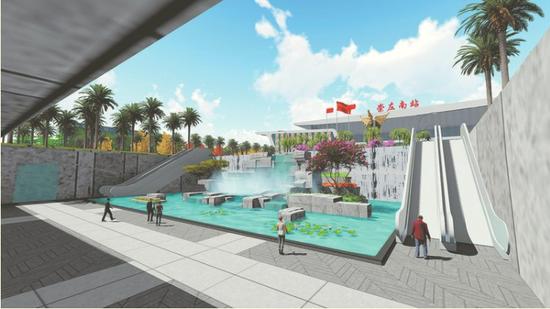 设计新颖的崇左南站将给乘客带来更舒适的候乘体验(效果图)