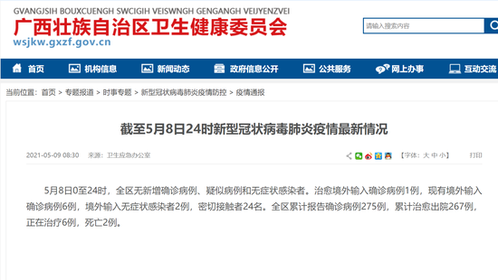 5月8日广西无新增 1例境外输入确诊病例治愈出院