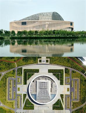 航拍造型独特的广西贺州文化中心