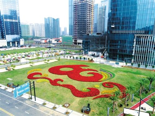 五象新区凯旋路一广场,由上万盆鲜花组成的庆祝自治区60华诞的景观气势恢宏 本报记者 赖有光 摄