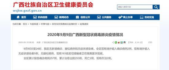 9月9日广西无新增确诊、疑似病例和无症状感染者