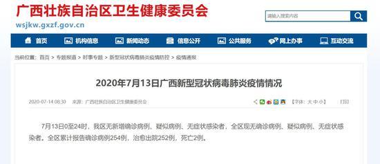 7月13日广西无确诊病例、疑似病例、无症状感染者