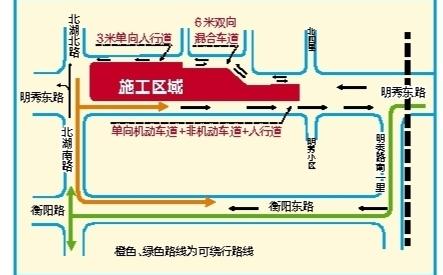 北湖南路站施工区域及绕行示意图 (舍忆/制图)