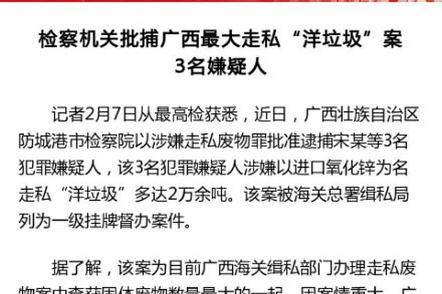 """检察机关批捕广西最大走私""""洋垃圾""""案3名嫌疑人"""