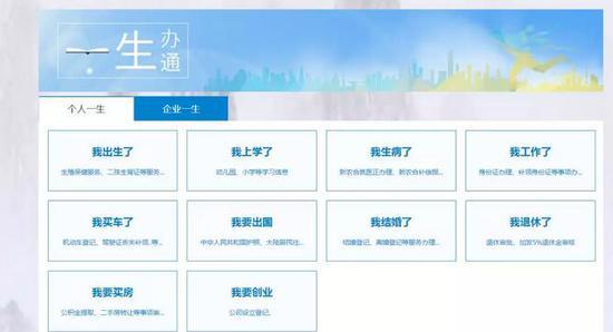 """新版贵州政务服务网""""一生通办""""页面截图"""