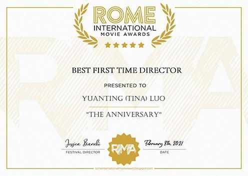 """(图二:罗马国际电影奖 """"最佳处女作导演奖"""" 获奖证书,地点:意大利罗马,时间:2021年2月6日)"""