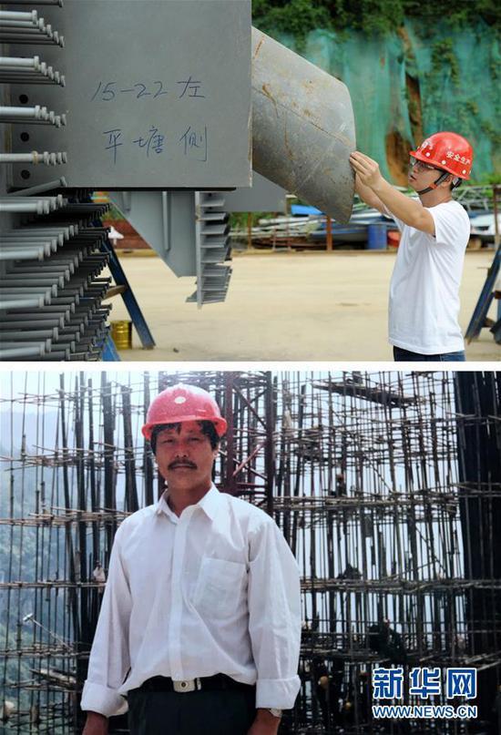 拼版照片:上图为贵州桥梁建设集团工程师刘豪在对平塘特大桥钢锚梁的拉索孔孔径进行检测(9月25日摄);下图为刘豪的父亲刘正华在桥梁施工现场的留影(资料照片)。刘豪是家中第三代桥梁人,他的爷爷、父亲都是贵州桥梁建设者。新华社发(杨文斌 摄)