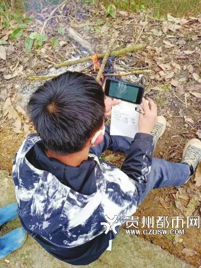 王朝勇爬到山顶,用手机收看网课。