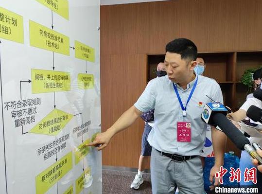 图为贵州省2021年普通高校招生录取检查组副组长罗鹰介绍高考录取工作流程。 刘美伶 摄