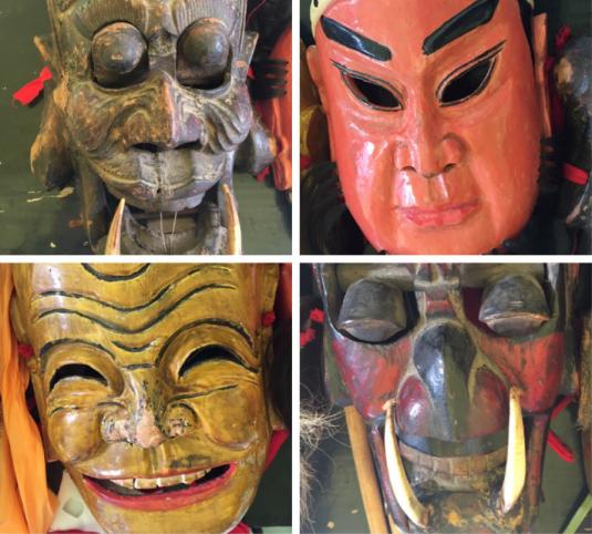 一些傩戏表演面具