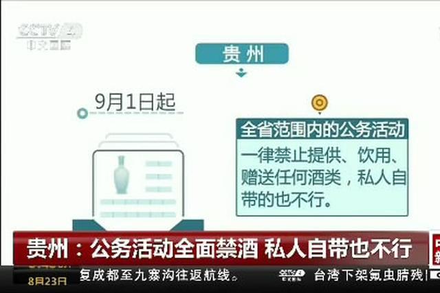贵州:公务活动全面禁酒 私人自带也不行