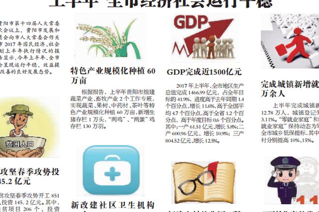 贵阳市确定下半年经济目标 拟完成生产总值3500亿元