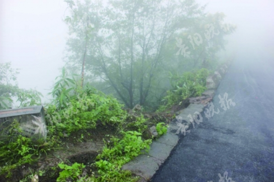 事发现场浓雾弥漫,货车从此处翻下高坡