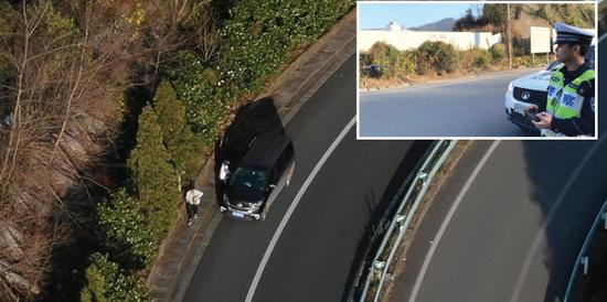 网约车在高速公路上违停下人被民警操控无人机拍下。