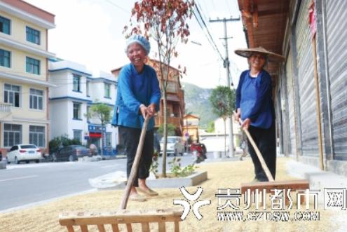 羡塘镇的两名村民在自家门口晾晒今年刚打的稻谷。