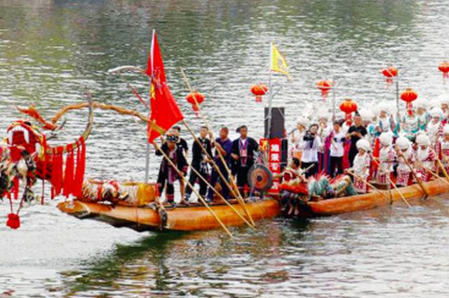 """贵州各地端午""""赛龙舟"""":舞阳河上 龙舟竞渡"""