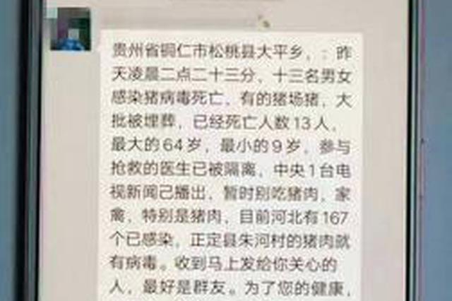 """""""13人感染猪病毒死亡……""""松桃男子散播谣言被拘"""