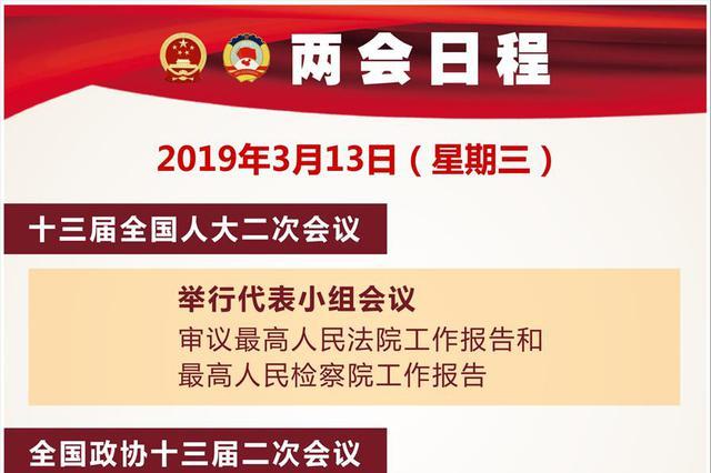 """3月13日:人代会审议""""两高""""报告 全国政协十三届二次会议闭"""