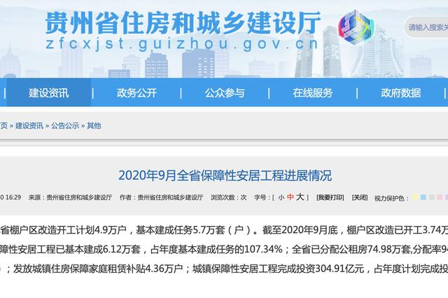 超额完成年度任务!1-9月贵州城镇保障性安居工程基本建成6.12万套
