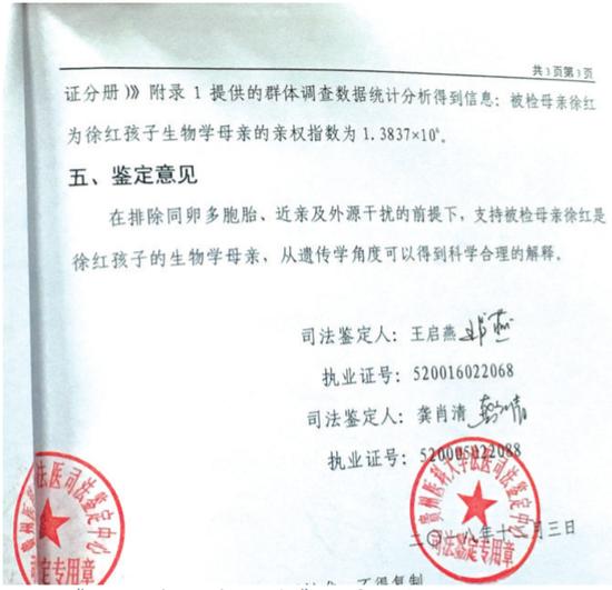 《司法鉴定意见书》证实,徐红与送检婴儿确系母女关系。