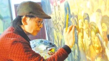 马骏正在创作《解放贵州》。