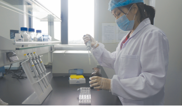 DNA实验室里,技术人员正在用移液器提取检测样本。