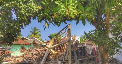龙目岛的受灾情况。