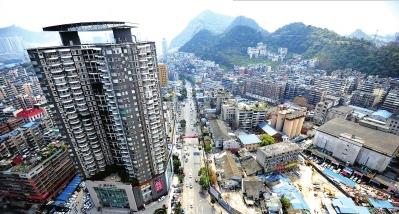 贵阳市花冠路北段道路工程鸟瞰图。