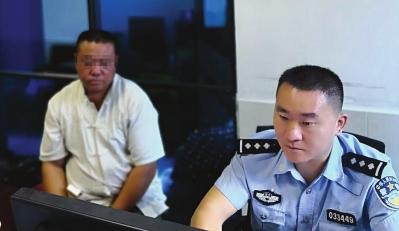 嫌疑人落网,交警做笔录。