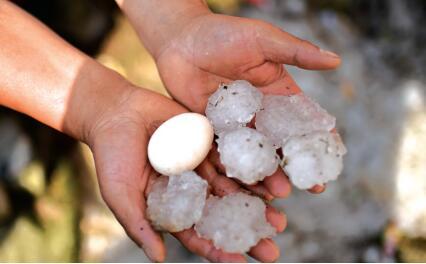 冰雹比鸡蛋还大。