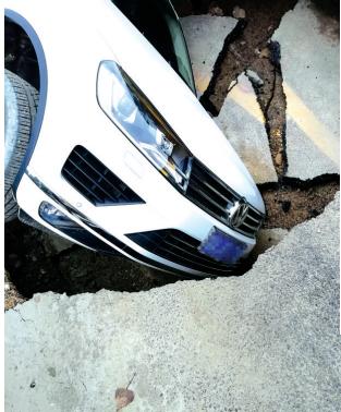 白色大众SUV损失较大。