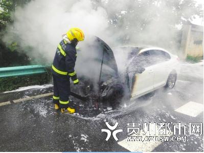 引擎盖处不断冒烟 一轿车行驶中发生自燃