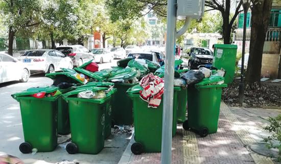 垃圾桶堵在人行道上,既碍观瞻也影响出行。