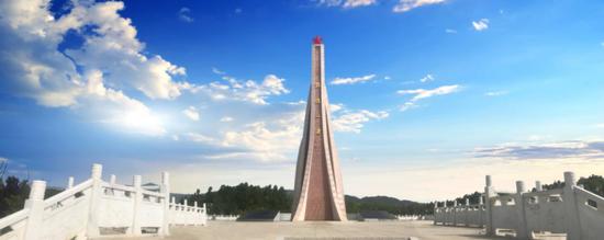 """新落成的""""鸡鸣三省""""纪念碑"""