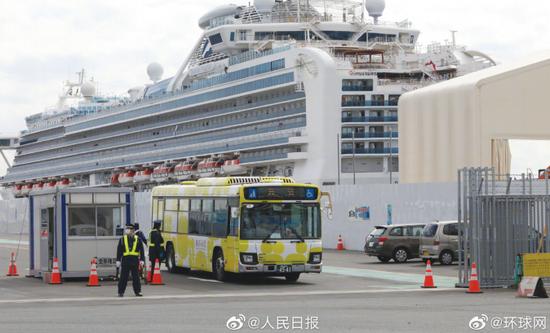 """14天隔离观察期届满,""""钻石公主""""号邮轮首批500名乘客获准下船。"""