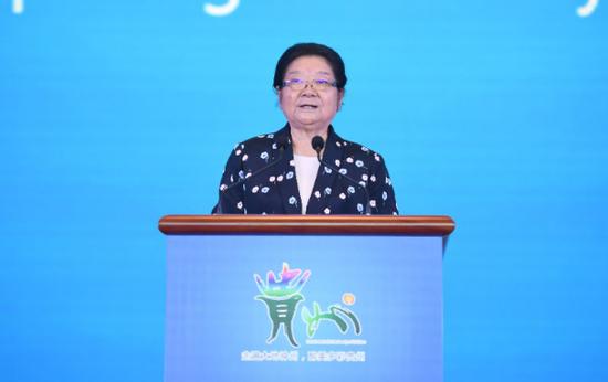 第十届全国人大常委会副委员长、中国关心下一代工作委员会主任顾秀莲出席并致辞。(贵州日报记者 邓刚摄)