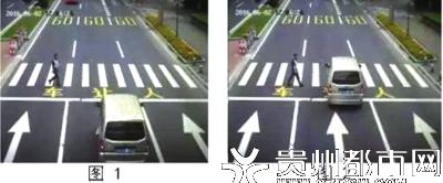 左图:行人进入斑马线,机动车未礼让继续前行将被取证。 右图:机动车阻挡行人通行成事实,将被取证。