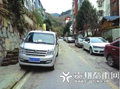 中天花园小区占道停放车辆。