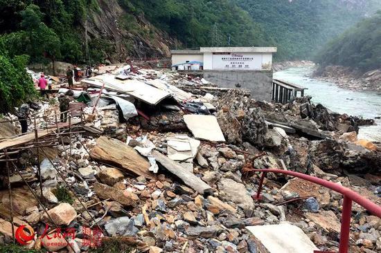 洪水侵袭后的南尧河水电站 南尧河水电站供图