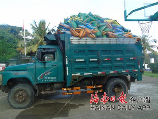 私运300余袋珊瑚礁石 文昌海岸警