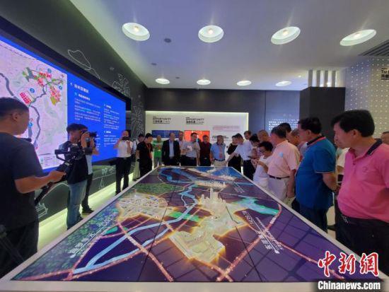 客商在三亚中央商务区观看电子屏示意图。(资料图) 王晓斌 摄