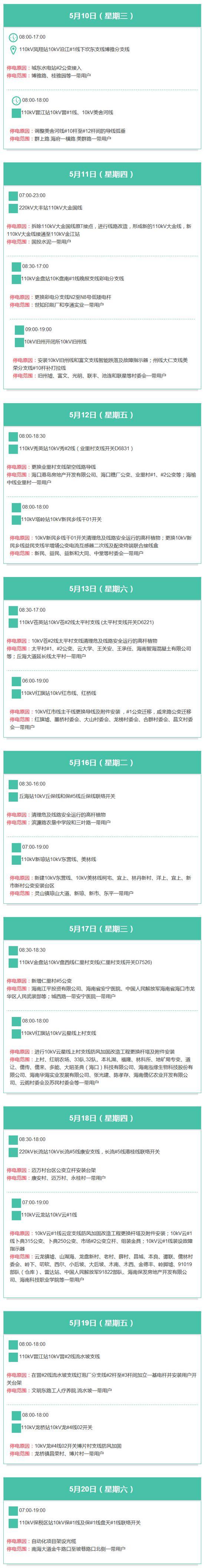 海口发布5月10-20日停电线路地段和时间