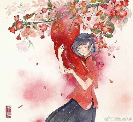总觉得木棉和海棠是有几分神似的,一样花团似锦,一样开得火红又热烈。