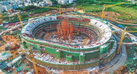 五源河文体中心二期项目体育馆主体结构封顶