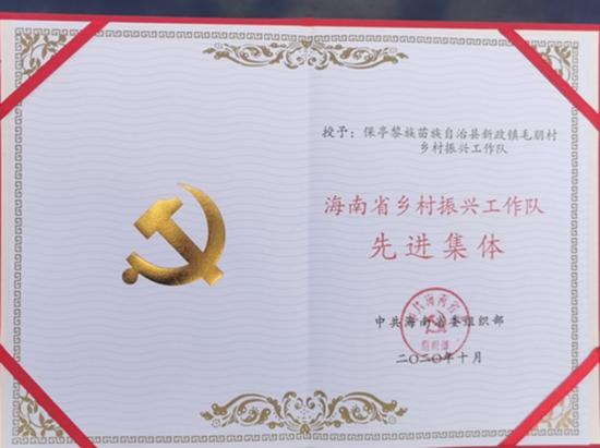 """喜讯!保亭县检察院振兴工作队被评为""""全省乡村振兴工作队先进集体"""""""