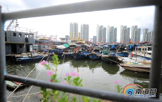 """9月14日,受今年第19号台风""""杜苏芮""""的影响,渔民在三亚港准备防风。南海网记者沙晓峰 摄"""